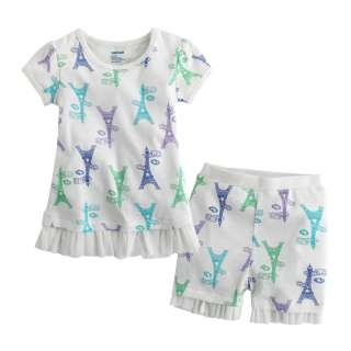 Kid Girl Boys Short Sleeve Sleepwear Set Frill Eiffel