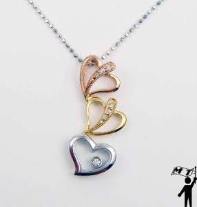 New 18K White Yellow Rose Gold Diamond Heart Floating Pendant 3 hearts