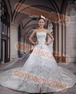 white Wedding dresses Bridal Gowns Swarovski Proms Gown