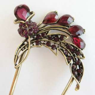 SWAROVSKI CRYSTAL BRONZE TULIP FLOWER HAIR STICK PIN PICK 461