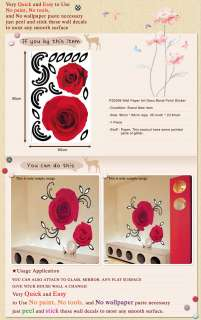 PS2006 RED ROSE PEARL Wall Art Deco Decal Mural Sticker