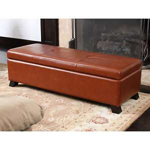 Modern Saddle Brown Leather Ottoman Storage Bench New