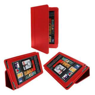 Leather Cover Case Holder for Kindle Fire Tablet Red