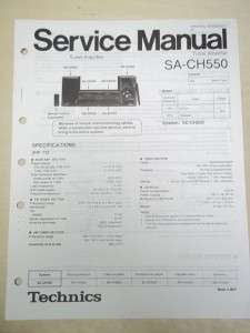 Technics Service/Repair Manual~SA CH550 Tuner Amplifier