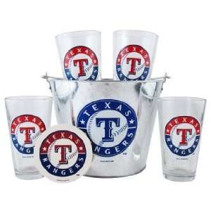 Texas Rangers Pint Glasses and Beer Bucket Set  MLB Texas