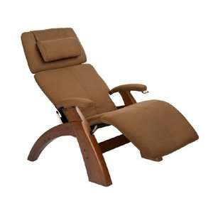 Classic Manual Zero Gravity Recliner with Walnut Base, Cashew SofSuede