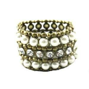Designer Alex Carol Thick and Glamorous Faux Perl & Crystal Stretch