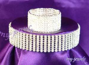 Row Bridal Crystal Rhinestone Choker & Bracelet Set