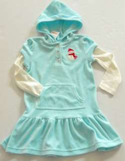 Gymboree Girls Cozy Cutie Aqua Velour Hooded Dress Sizes 4 12
