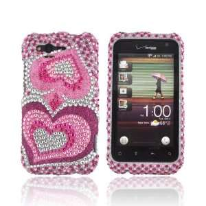 Hot Pink Pink Hearts Silver Gems Bling Hard Plastic Case Snap On Cover