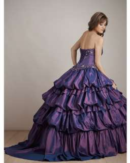 Purple Quinceanera Ball Gown Prom Evening Party Dress