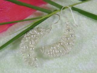 Beaded Thai Solid 92.5% .925 Sterling Silver Wire Wrap Earrings