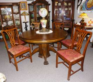 Antique Round Oak Dining Table Claw footed With Original Leaves