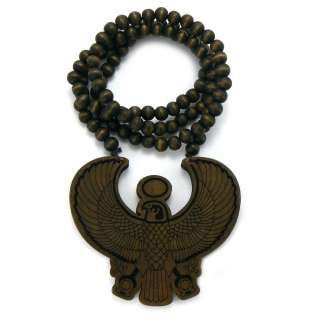 HORUS BIRDGood Quality Wood Pendant 36 Wooden Ball Chain Necklace