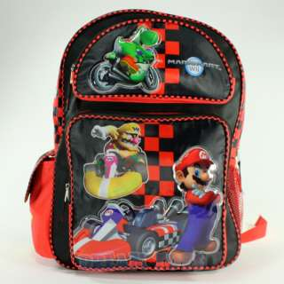 Super Mario Brothers Red Checkered Mario Kart 16 Large Backpack Bag
