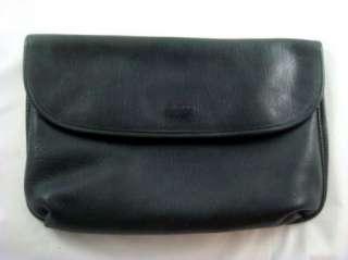 Burlington Black Leather Large Satchel Envelope Clutch Purse