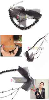 Fashion Girl Sweet Cute Lovely Black Bud Silk Bowknot Style Necklace