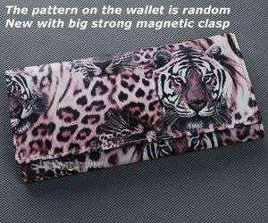 Pink Tiger Leopard Print Lady Women Long Wallet Purse Coin Bag