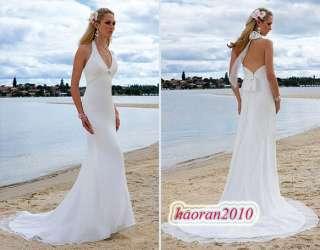 neck halter white slim sexy Beach Wedding dress Bridal Gown 4 6 8 10