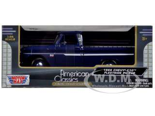 1966 CHEVROLET C10 FLEETSIDE PICKUP TRUCK BLUE 1/24 BY MOTORMAX 73355