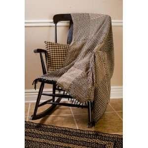 Black & Tan 50x60 Woven Throw Quilt Throw Blanket