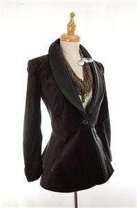AUTH $650+ Alice + Olivia Black Flared Tuxedo Coat Jacket XS