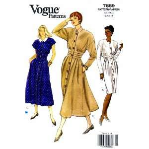 Vogue 7889 Sewing Pattern Womens Jewel Neck Tucked Dress