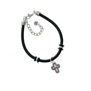 Cross with Rope Border and Heart Black Charm Bracelet