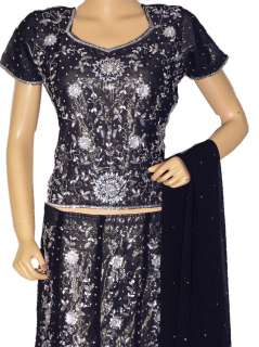 Indian Dress Black Women Party Cocktail Lehnga Clothing Skirt L