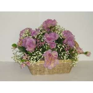 Lavender and Cream Floral Arrangement in Basket (12tall