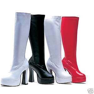 Platform Knee Stretch Boots Black White Red Size 5 16
