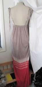 NW Urban BROWN Tie Dye EMPIRE RETRO Hippie MAXI DRESS S