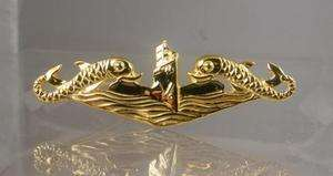SUBMARINE DOLPHIN OFFICER DEEP WAVE PIN .925 BADGE