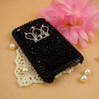 Black Crown Back Bling Hard Case Cover F iphone 3G 3GS