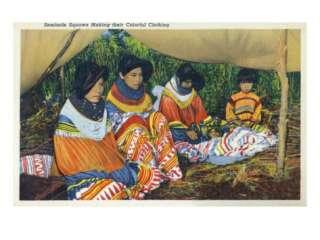Florida   Seminole Ladies Making Colorful Clothing Premium Poster