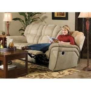 Felicia Double Reclining Sofa in Beige Padded Microfiber