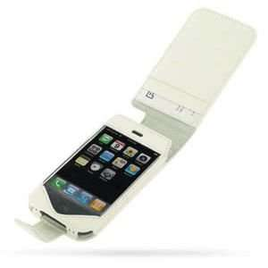 Apple iPhone Leather Flip Type Case (White) Cell Phones