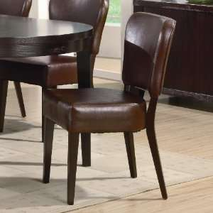 Set of 2 Brown Faux Leather Side Chairs