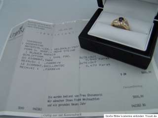 Ring 18K Gold Saphir und Diamanten zus.1,01ct + Zertifikat NP 5.000