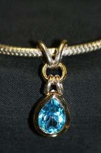 14 KT Gold Sterling Blue Topaz Pendant & Snake Chain