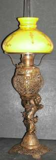 Antique Victorian Figural Cupid B&H NBIW Banquet Oil Lamp GWTW Yellow