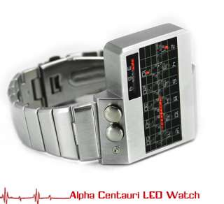 Alpha Centauri All Metal Red LED Watch Heart Bit timing