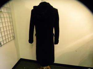 KENNETH COLE black velour quilted long coat S
