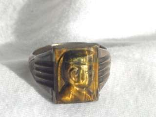 STERLING carved TIGERS EYE RING Imperial Japanese Army MAN INTAGLIO