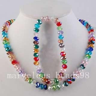 Multi color Crystal Beads Necklace Bracelet Set G3215