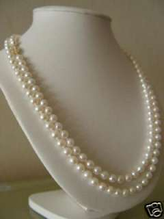 36 7 8mm AAA longer White Freshwater Pearl Necklace