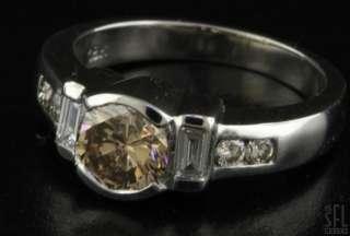 18K WHITE GOLD 1.21CT COGNAC DIAMOND WEDDING/ENGAGEMENT RING SIZE 5.5