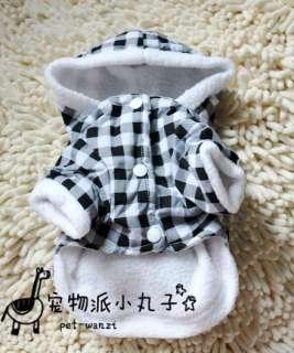 Cartoon Rabbit inside Warm Fleece DOG Clothes Lattice hoodie COAT XS,S