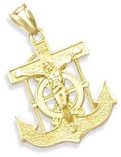 14K YELLOW GOLD JESUS CRUCIFIX ANCHOR CHARM PENDANT NEW