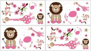NEW PINK AND GREEN ANIMAL JUNGLE THEMED DESIGNER GIRL BABY BEDDING 9pc